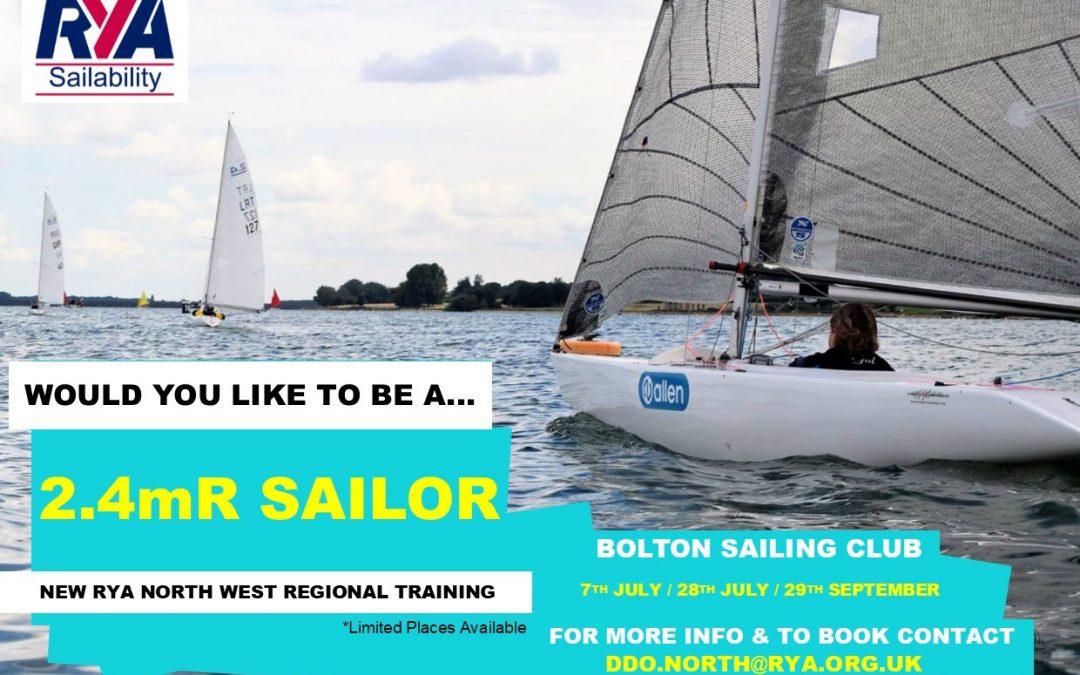 North West 2.4mR Regional Sailability Training at Bolton Sailing Club